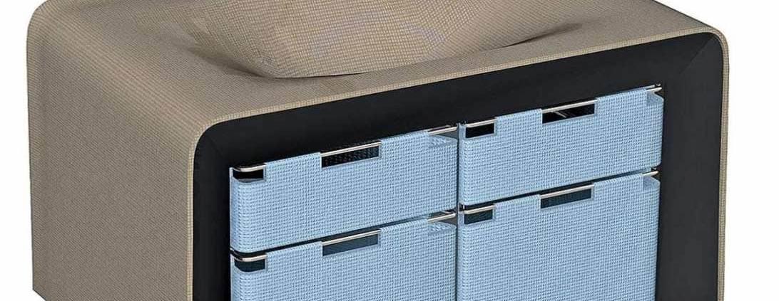 Ambiance Bain, en collaboration étroite avec Mathilde Bretillot, designer, dévoile le meuble-vasque Texti-san. Une prouesse technique permettant l'application de tissu enduit en profondeur d'une vasque, sans repli, ni déformation, mariant textile et composite, éco-conçu. ©Ambiance Bain