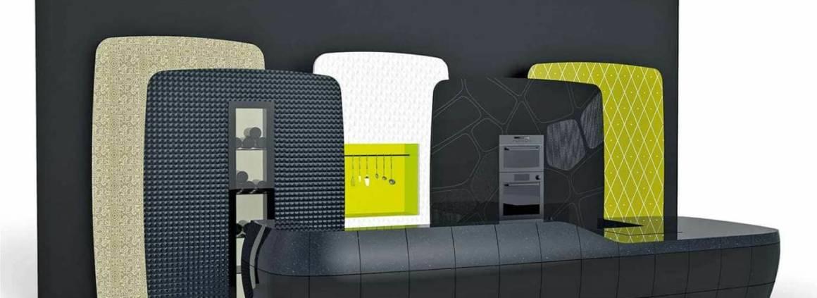 Nouvelle approche de la couleur au sein de la cuisine, grâce à la technologie DeepColourTM Technology. Les couleurs sombres séduisent l'espace culinaire. Design Christian Ghion. ©DuPontTM Corian®