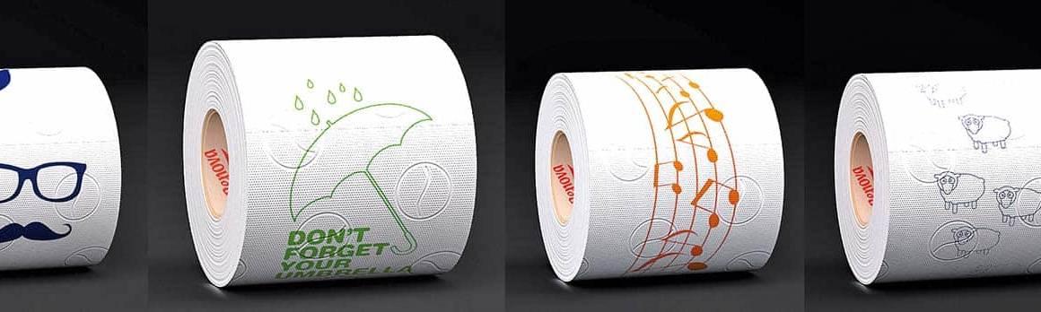 Papier hygiénique double épaisseur, blanc avec motifs. ©Renova