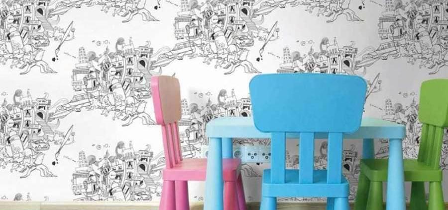 Colour me ! Conçue par Lizzie Mary Cullen ce papier peint Graham & Brown est tout simplement fantastique! Lorsque l'on pose son regard sur cette collection, de nouveaux détails apparaissent. L'artiste a souhaité saisir la complexité urbaine de la ville de Londres qui s'imprime sur nos murs. ©Graham & Brown