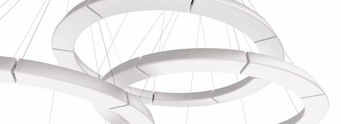 martinelli luce, Pole XXL - Cette lampe à suspension modulaire à lumière diffuse repose sur jeu de courbes et de lignes. Elle s'adapte à la dimension et à la forme à l'espace et au volume. C'est vous qui composez le design même de votre source lumineuse. Système LeD à faible consommation. ©martinelli Luce