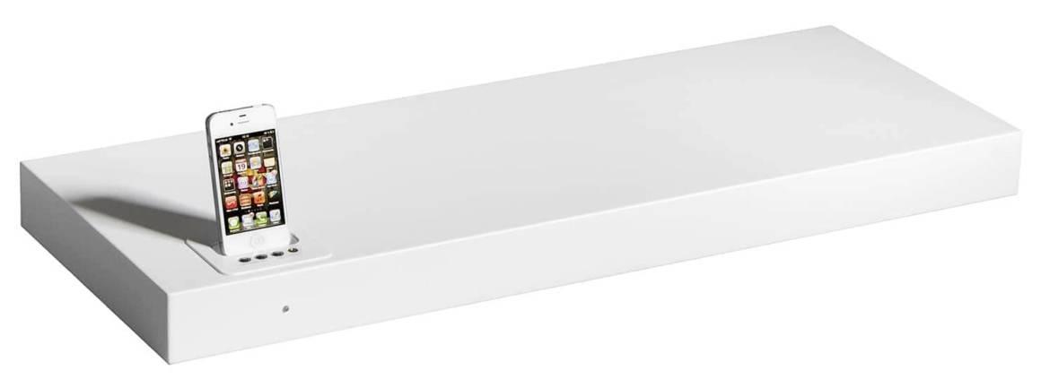 Etagère/station d'accueil intégrant un dock iPod/iPhone. En MDF Laqué. Connexion Bluetooth adaptée aux smartphones. ©Kreafunk