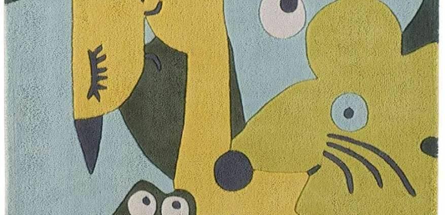 Tapis tufté main 100 % coton, représentant un all over trendy. 110 x 110 cm. ©Toulemonde Bochart