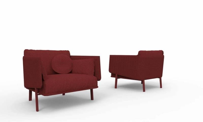 Collection de canapés et fauteuils reposant sur une structure en métal et en bois, garnie de mousse. Revêtements tissus ou cuirs. Design Alain GIlles. ©Bonaldo