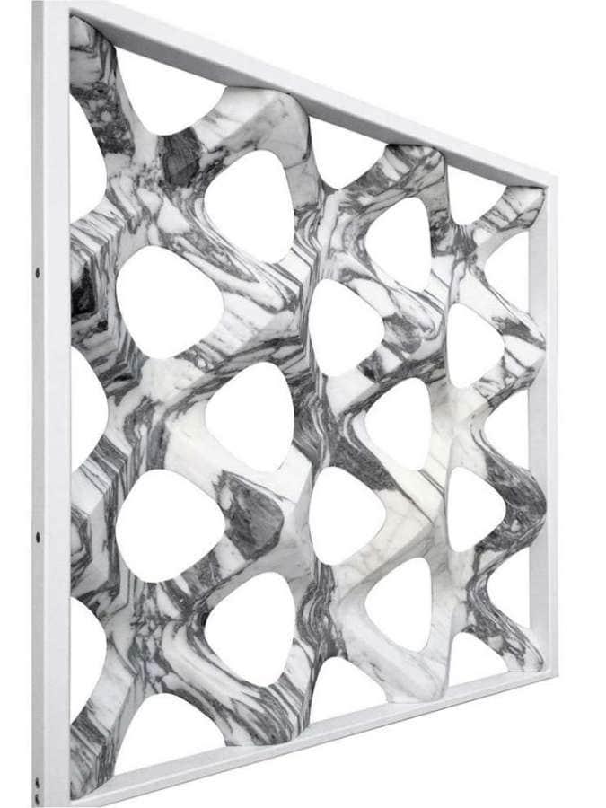 Inaugurée avec l'ouverture de la Milan Design Week, l'événement Digital Lithic Design a mis en avant l'oeuvre Retina conçue par Rafaello Galiotto : une notion de tridimension pouvant être appliquée comme une cloison décorative en marbre. ©Lithos Design