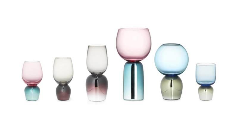 Les produits de cette collection imaginée par Sacha Walckhoff se transforment en verres, vases ou même des cloches de verre. ©Verreum