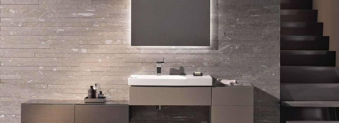 La collection Xeno2 imaginée par Robin Platt est un doux mélange entre rigueur architecturale et douceur. Une géométrie affirmée par la vasque asymétrique en céramique, les consoles, meubles ou colonnes suspendus… ©Keramag