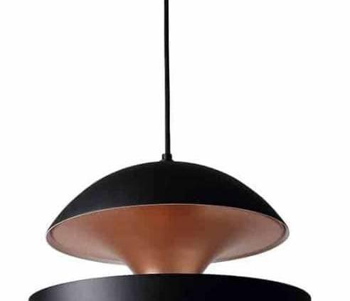 DCW Editions, Here comes the Sun - Suspension noire avec intérieur en cuivre, créé en 1970 par Bertrand Balas, architecte toulousain. Réédition ©DCW Editions.