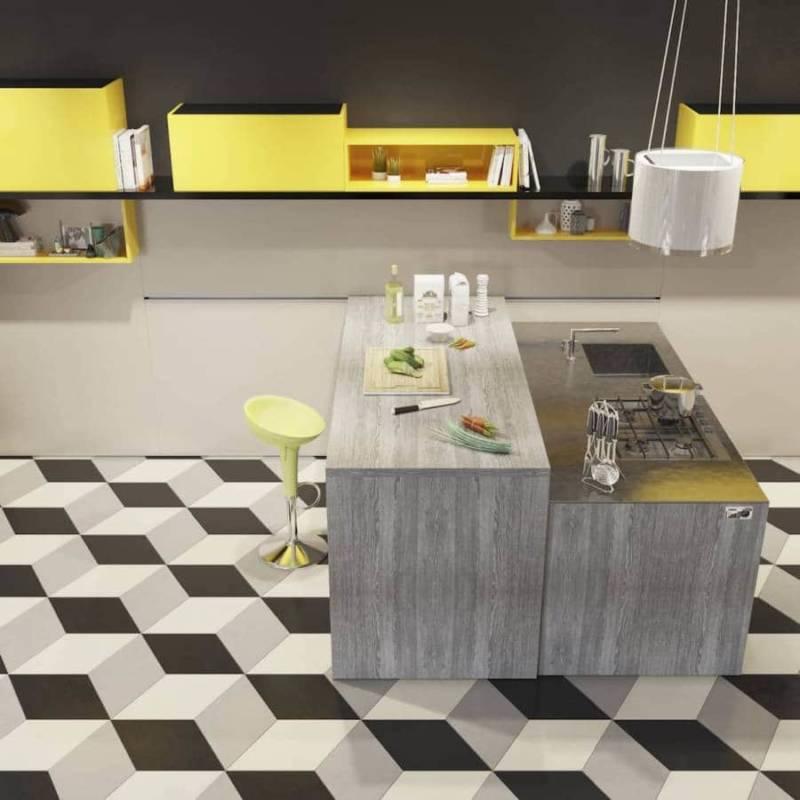 La table snack «Scooter», via le rail mural, coulisse pour s'adapter aux besoins de l'utilisateur. Vous pouvez évoluer dans votre cuisine selon l'usage. Équipées d'un système de blocage, les roues permettent de contrôler facilement la table. Modèle Amalfi Full. Design by Centro Ricerca et Sviluppo. ©Del Tongo