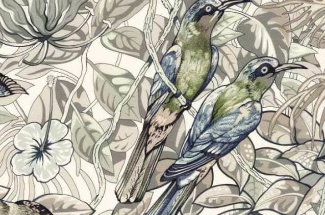 Tissus d'ameublement Jungle Life Imprimé, coloris naturel, 100 % twill de soie. Dessin Robert Dallet.