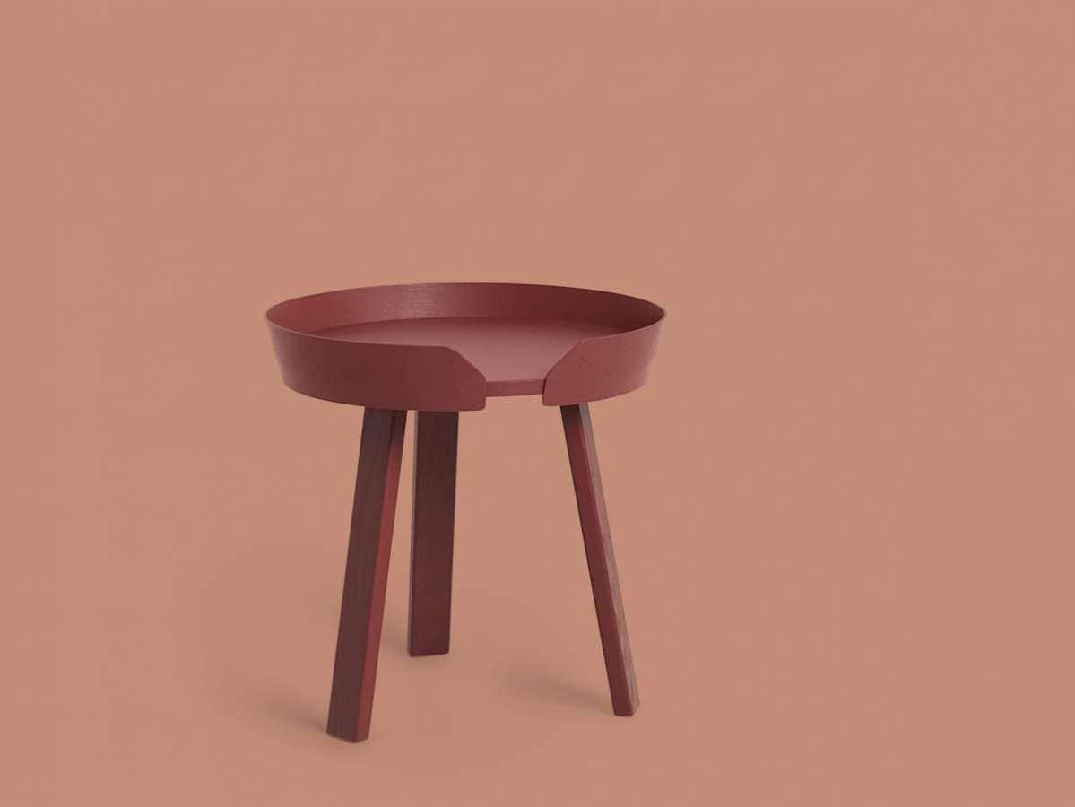 Muuto - Around - Table basse en frêne teinté, à composer avec ses deux hauteurs différentes. Design Thomas Bentzen. Coloris Tangerine. Diamètre 45 cm x 46 H. ©Muuto