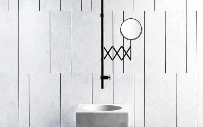 Salvatori - Fantini - La collection Fontane Bianche mêle le savoir-faire de Salvatori, qui façonne le marbre depuis 70 ans, à l'éloquence de Fantini qui crée des robinetteries design depuis 69 ans. Une fusion de la pierre travaillée dans toute sa splendeur et du métal fi nition canon de fusil. ©Salvatori - Fantini