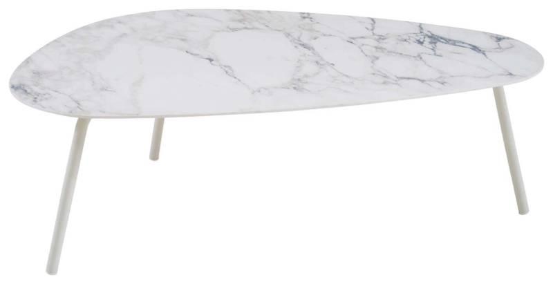 Emu, Terramare – Grande table basse en aluminium extrudé et plateau en grès émaillé. 108 L x 64 P x 35 H cm.