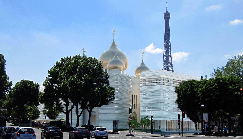 Programme de 4 655 m2 composé d'un centre culturel (bâtiment Branly), de la cathédrale orthodoxe de la Sainte-Trinité, d'un centre administratif (bâtiment Rapp) et d'un pôle éducatif (bâtiment Université). ©Wilmotte & Associés