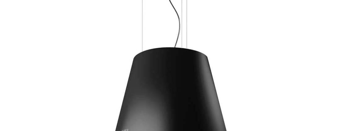 Elica, Easy - Hotte d'îlot de 50 cm finition noire, avec commandes tactiles 3V+I, éclairage LED. Max 603 m3/h et 61 dB. Design Fabrizio Crisà. ©Elica