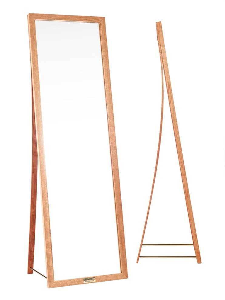 Miroir de plain-pied en chêne avec tubes de cuivre. H 180 x L 55 x P 45 cm