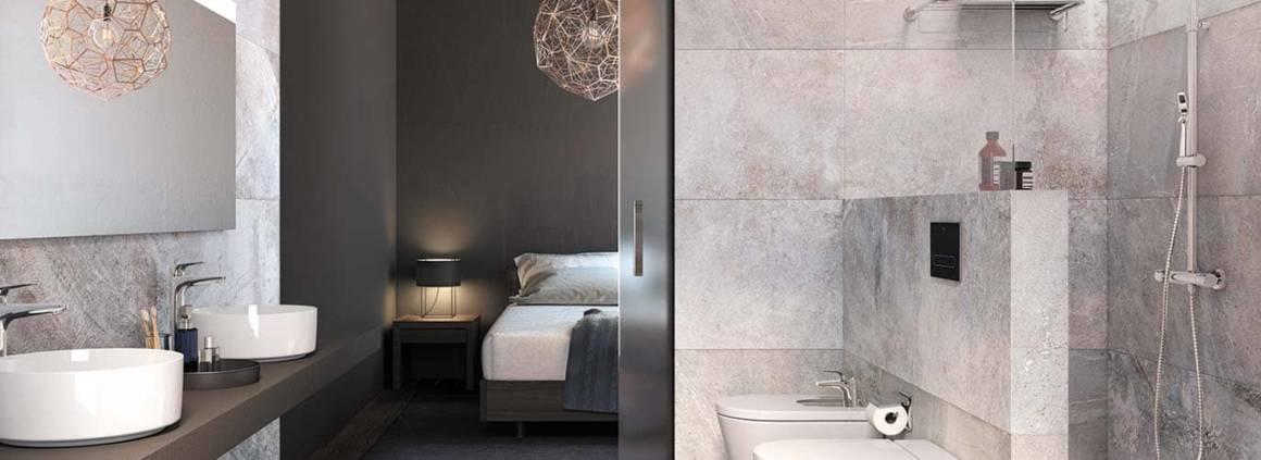 Salle de bains Inspira en Fine Ceramic® avec vasques à poser Round. ø 37 x H 14 cm. ©Roca