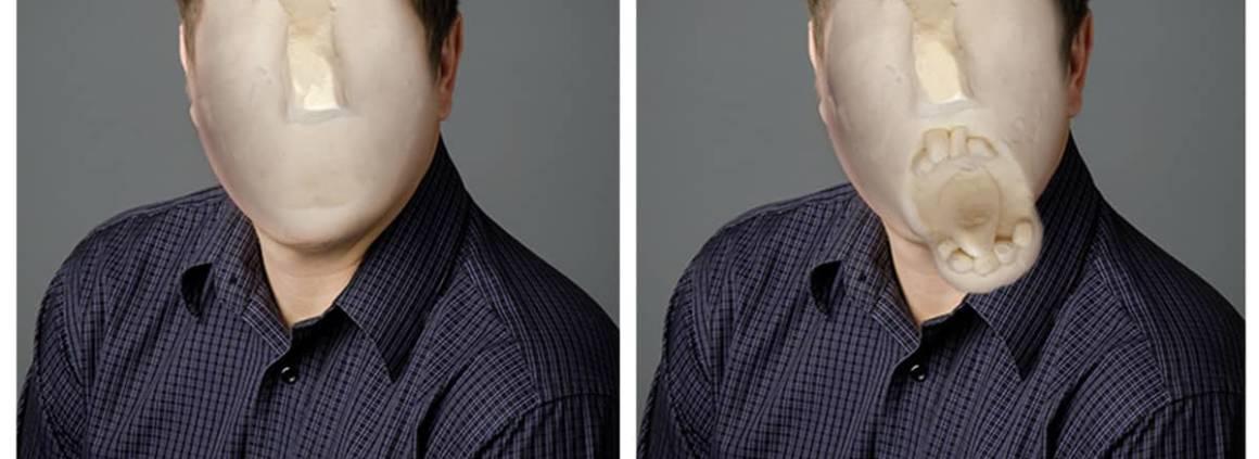 Exposition La gueule de l'emploi. Version béta du logiciel Opus Faciem - Photomontage, 2015. ©Camille Chatelaine
