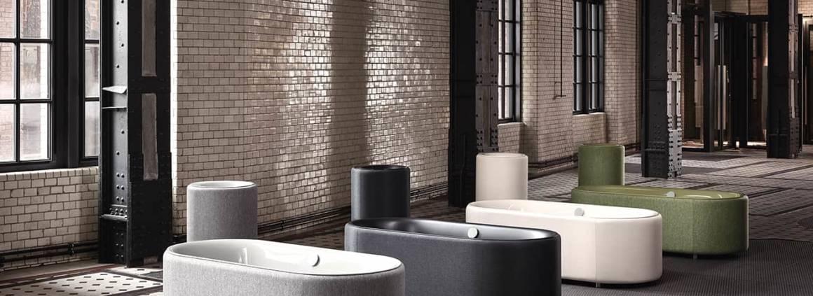 BetteLux Oval Couture, 4 nuances. En acier vitrifié et tissu. ©Bette