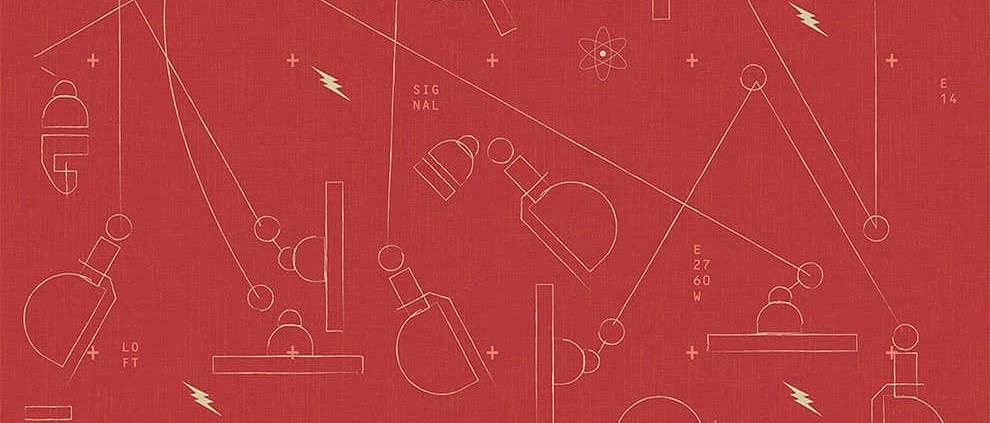 Papier peint tapissier ou adhésif repositionnable Jieldé, en série limitée, reprenant la lampe Standard de Jieldé. Coloris Rouge. Lé de 62 x 300 cm. ©Le Presse Papier