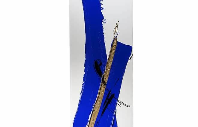 Radiateur en pierre Olycale®. Pièce unique créée par l'artiste Johanne Cinier. Coloris bleu océan et or. 220 x 50 cm. ©Cinier