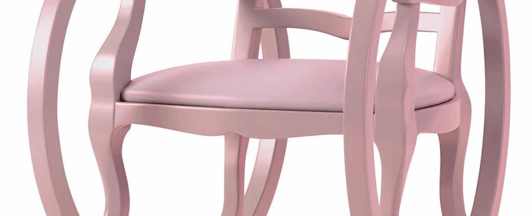 Rocking chair Ticking Clock Kid, en hêtre peint et cuir. Coloris rose poudré. L 45,5 x P 55 x H 56 cm. ©Maison Dada