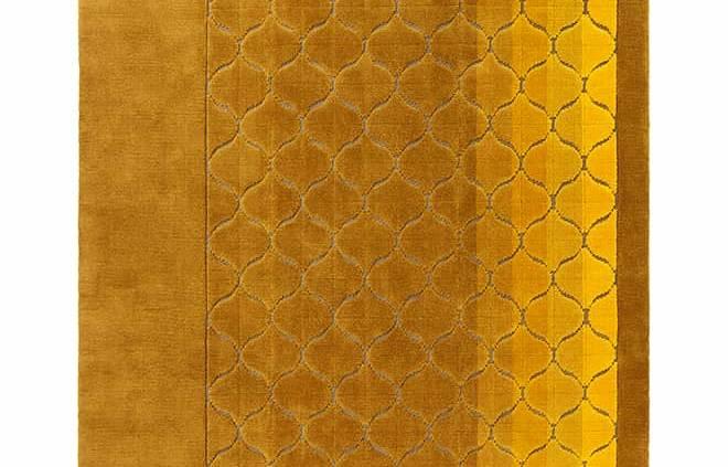 Tapis Marelaggi, collection Variamen, en laine tissée sur un fond de jute et coton. Coloris Saure. Design Charles Zana. ©La Manufacture Cogolin