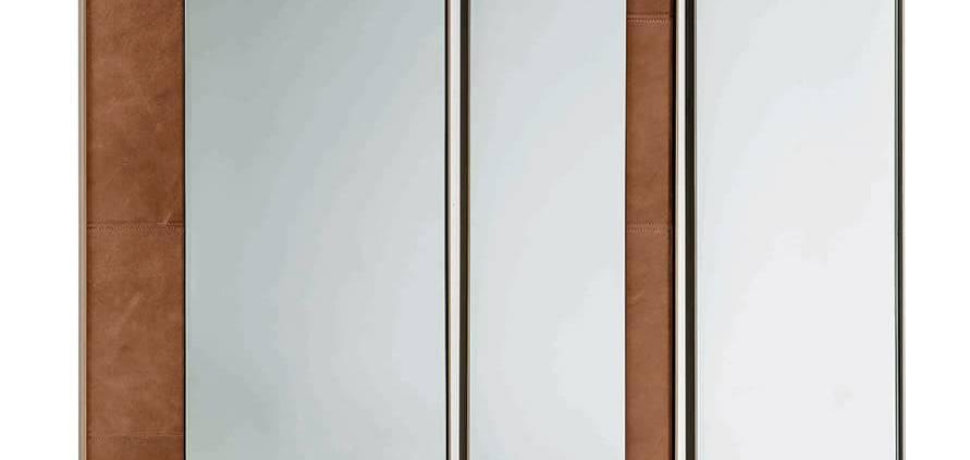 Arketipo, Dorian - Miroir mural, enrichi de bandes de cuir. Design Gino Carollo. ©Arketipo
