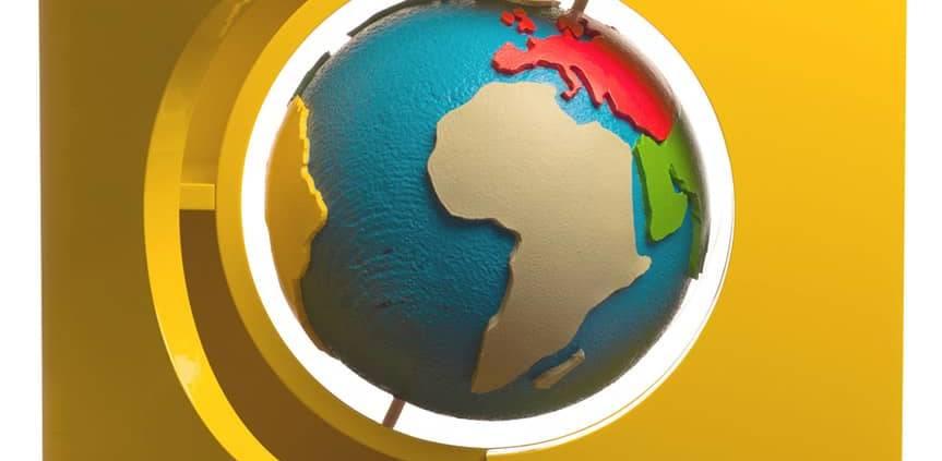 Gufram, Globe - Cabinet en MDF de la collection Multiple, imaginé comme un meuble-coffre. Au centre, un globe terrestre en polyuréthane expansé. Design Studio Job. L 95 x H 191 x P 45 cm. ©Gufram