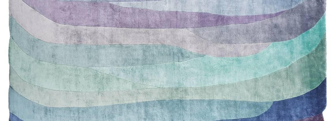 Nodus, Scape Violet - Tapis en viscose noué main avec poils 10 mm d'épaisseur. Design Constance Guisset. 200 x 300 cm ou sur-mesure. ©Nodus Rug