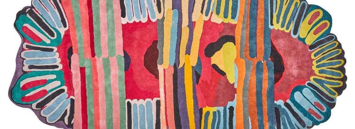 Nodus, Tufty - Tapis en laine et viscose noué main, 10 mm d'épaisseur de poils. Design Laureline Galliot. 227 x 370 cm. ©Nodus Rug