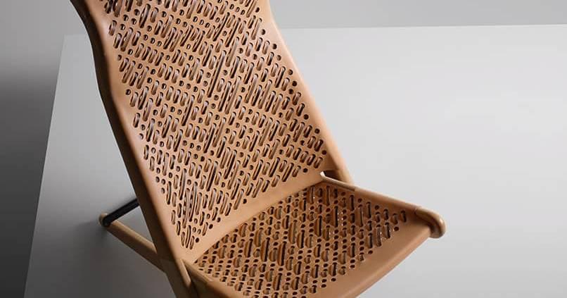 Palaver Chair, de Patricia Urquiola, feuilles tissées de cuir perforé, 2017.