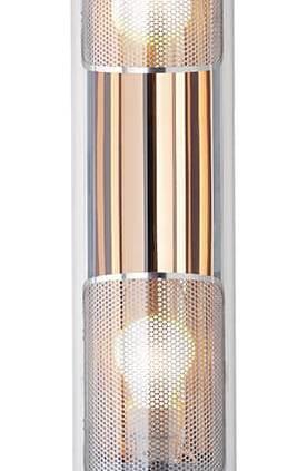 Sammode, Rimbaud GR - Luminaire reprenant le modèle historique Rimbaud, en version outdoor. Diffusion plus intime avec l'ajout d'une grille brise-flux microperforée en inox. Coloris cuivre. L 68 cm. ©Sammode