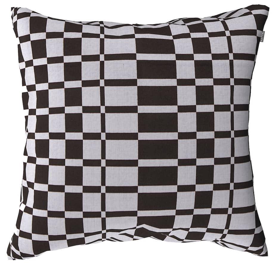 Coussin géométrique en acrylique teinté masse. Coloris marrons. 65 x 65 cm. Design Doshi Levien. ©Kettal