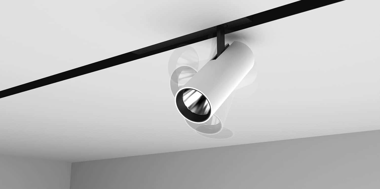 Technologie intelligente Smart Control permettant de déplacer à distance les spots insérés dans le rail pour interagir avec la lumière - Aluminium extrudé blanc - ©Flos Architectural