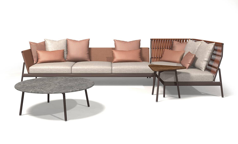 Système composable Piper, avec tables et assises. Canapé en aluminium peint/sangle en aluminium/Batyline®. ©Roda