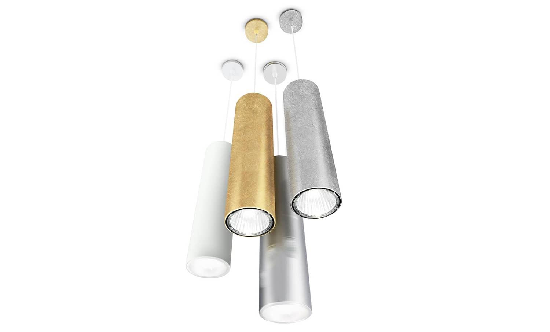 Suspensions One tubulaire en aluminium, finition feuille d'or - ø 10,5 x H 38 cm - Source LED - ©Panzeri