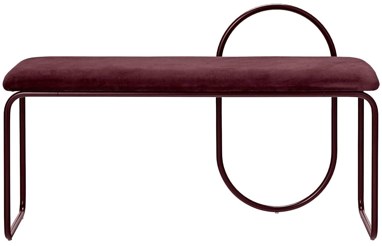 AYTM, Angui - Banc en métal et coton de velours bordeaux. L 110 x P 39 x H 68 cm. ©AYTM