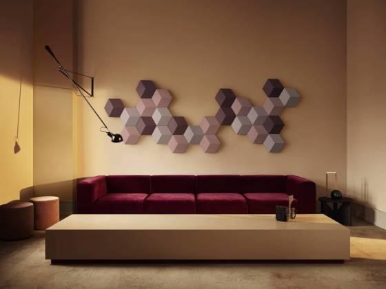 Bang & Olufsen, BeoSound Shape - Composition murale d'enceintes sans fils, multiroom. Tissu de laine Kvadrat. Jusqu'à 44 enceintes. ©Bang & Olufsen
