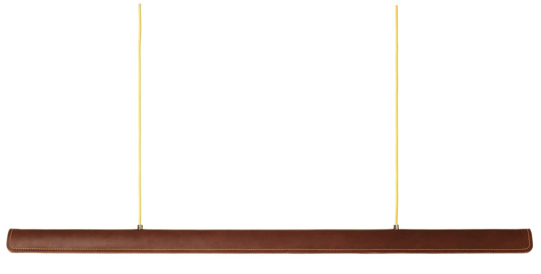 Formagenda, Cohiba - Suspension en cuir marron et fils citron. L 123 cm. Design Benjamin Hopf. ©Formagenda