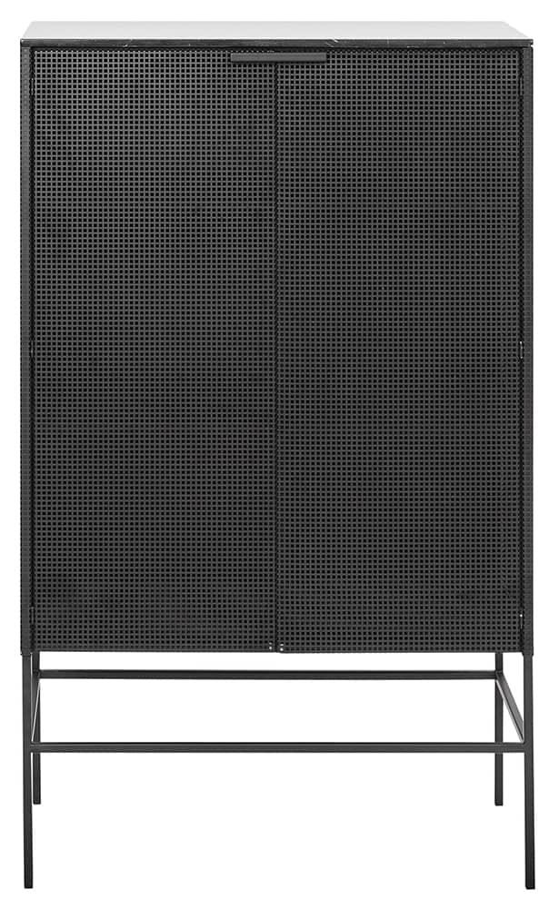 Kristina Dam, Grid - Cabinet en métal perforé et plateau en marbre. L 76 x P 46,7 x H 132 cm. ©Kristina Dam