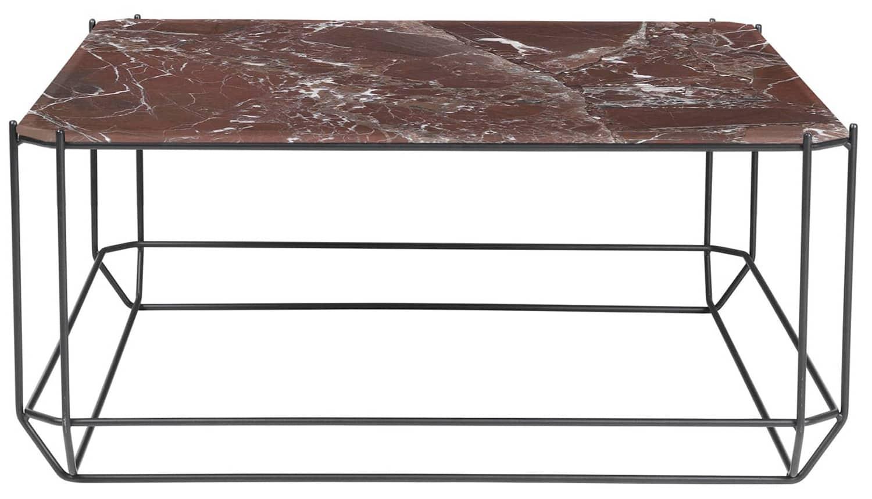 Louise Roe, Jewel - Table basse en acier et marbre bordeaux. 80 x H 36 cm. Design ByKATO. ©Louise Roe
