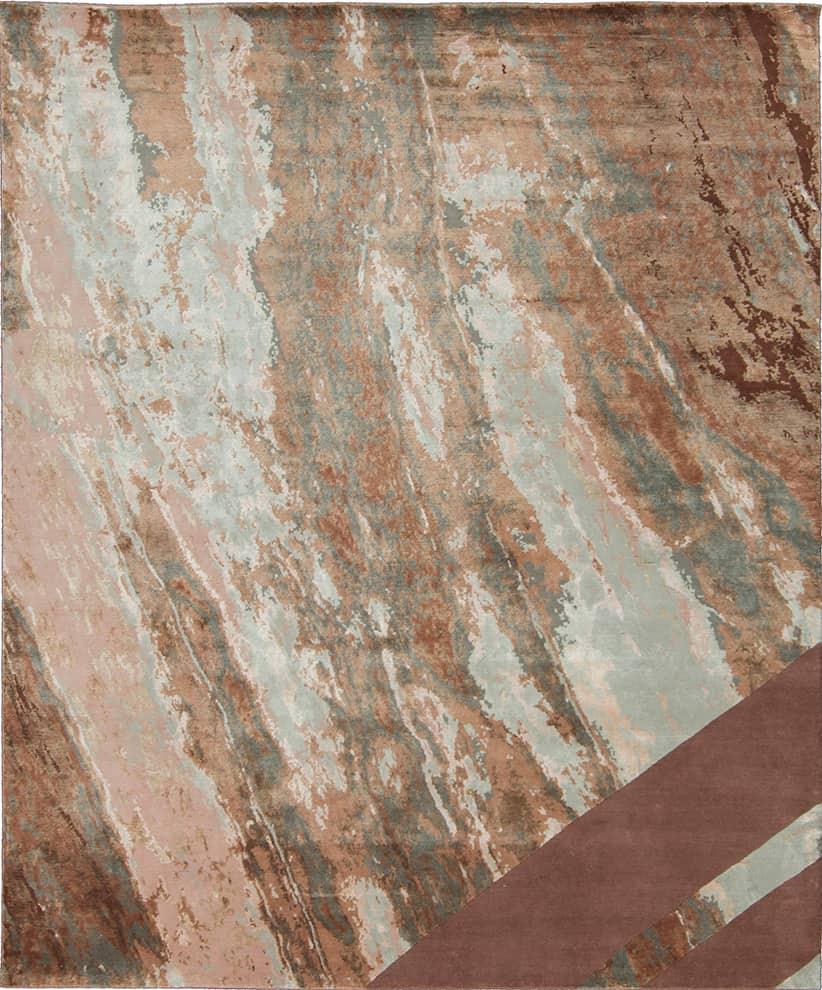 Sahrai, Copper Dune - Tapis en laine et soie, effet pierre. 300 x 250 cm. ©Sahrai