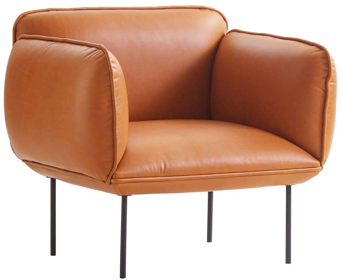 Woud, Nakki - Fauteuil en métal et cuir. L 97 x P 78 x H 83 cm. Design Mika Tolvanen. ©Woud
