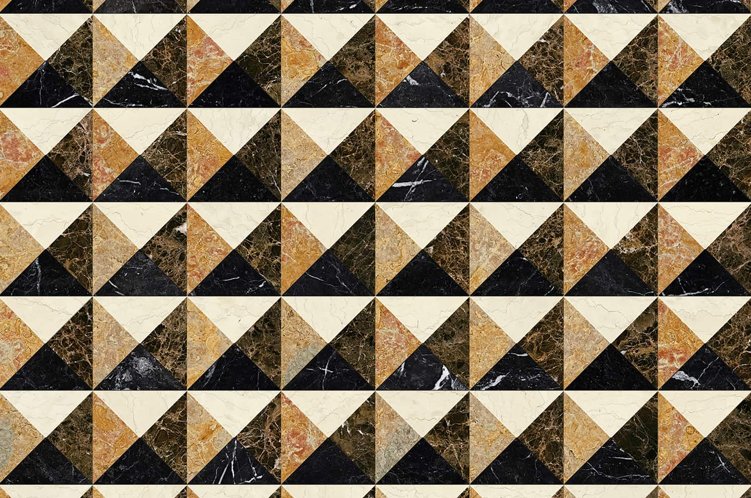 Motif Ardeatina Grano, collection Marmo, en marbre polychrome. 2 coloris. ©Bisazza
