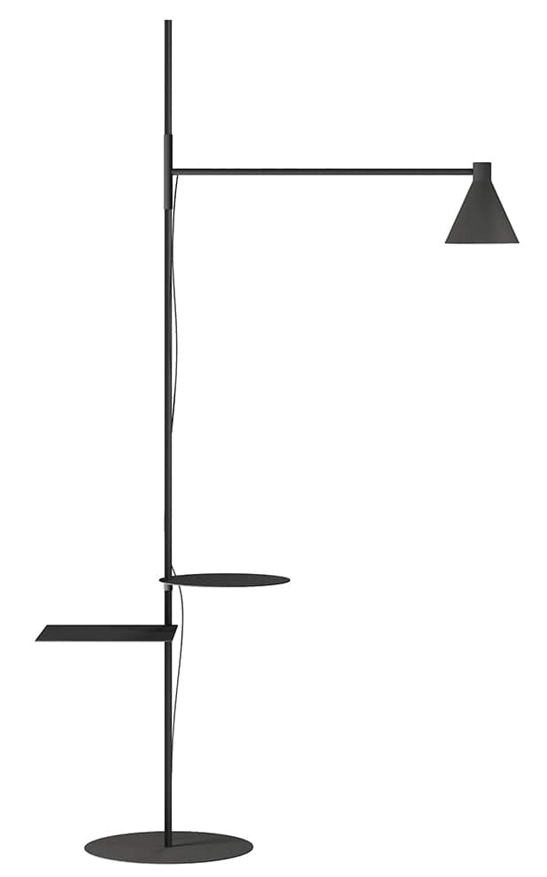 DePadova, Nota - Système d'éclairage versatile, avec tiges articulées et deux petites tables. En acier peint couleur noire mate. H 220 cm. Design Elisa Ossino. ©DePadova