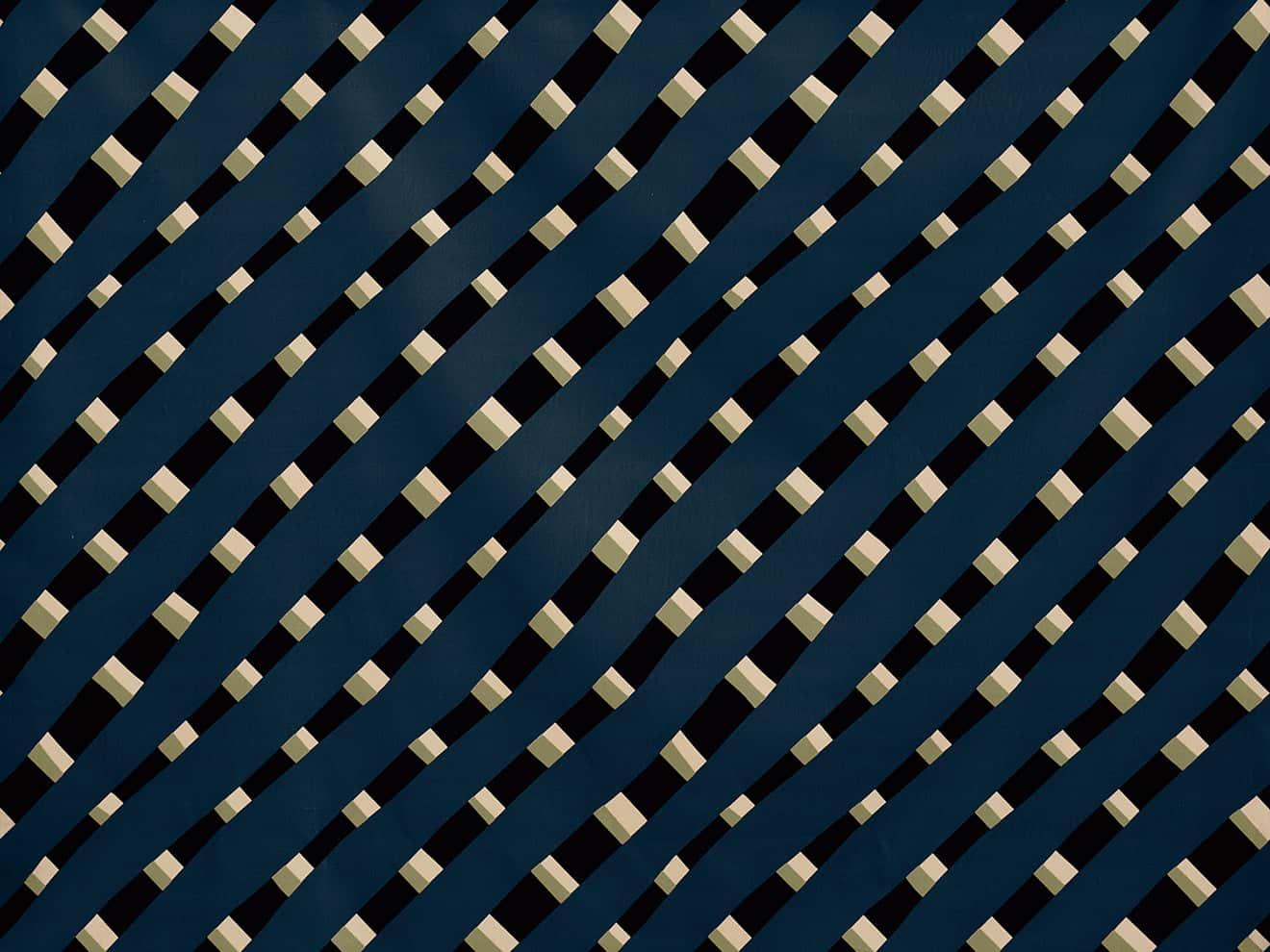Pierre Frey, Stripes - Tissu en coton et polyester, issu de la collection True Velvelt, velours unis et imprimés. Coloris Night Dream. Laize 136 cm. Design India Mahdavi. ©Pierre Frey