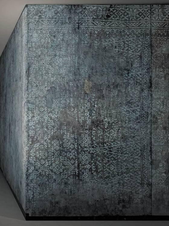 Modèle Kashmir, collection Carpets. Revêtement vinyle ou disponible dans différents matériaux en fonction de l'utilisation. Rouleau 50 x 500 cm. ©Glamora