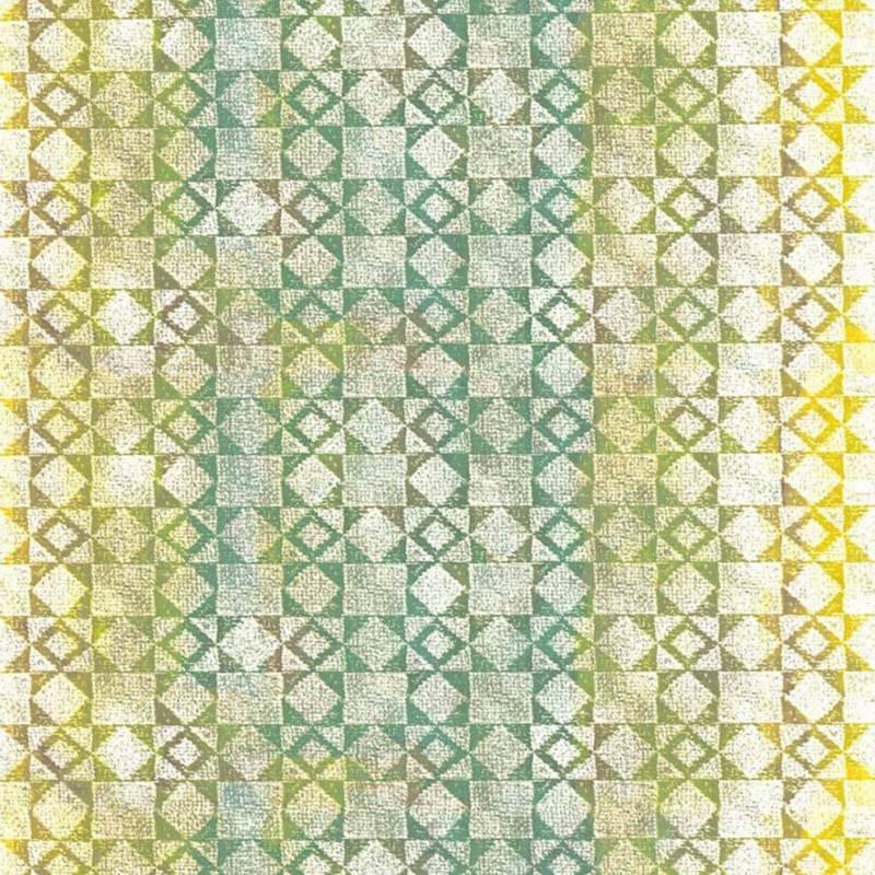 Collection papier peint Bensimon. Modèle Mexicain Vert. Vinyl sur intissé. Largeur 53 cm. ©Lutèce - Home autour du monde