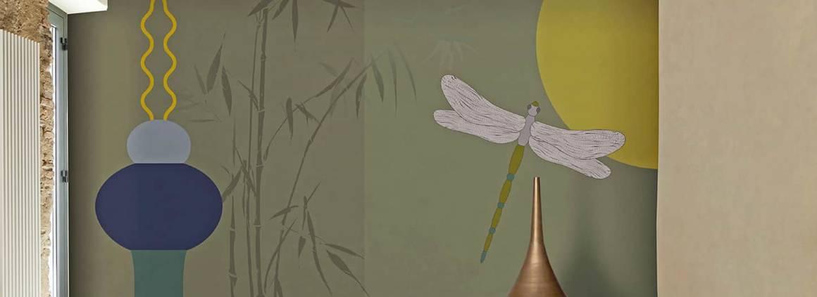 Collection Atelier. Modèle Flora & Fauna - Lunas Plures. Décor sur-mesure. Design M. Christina Hamel. ©N.O.W. Edizioni